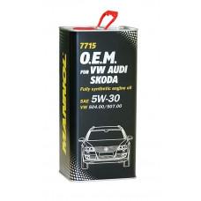 Масло моторное MANNOL 7715 O.E.M. VW, Audi, Skoda 5W40 синтетическое 5 л